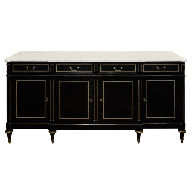 1900s Louis XVI Ebonized Mahogany Buffet With Carrara Marble Top For Sale - Image 5 of 11