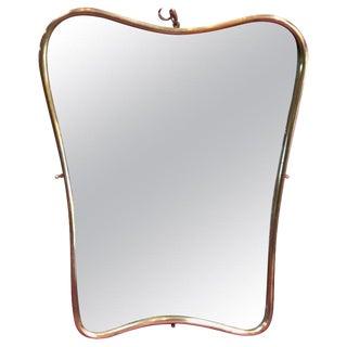 Small Italian Minimal Curvilinear Brass Mirror, 1950s For Sale