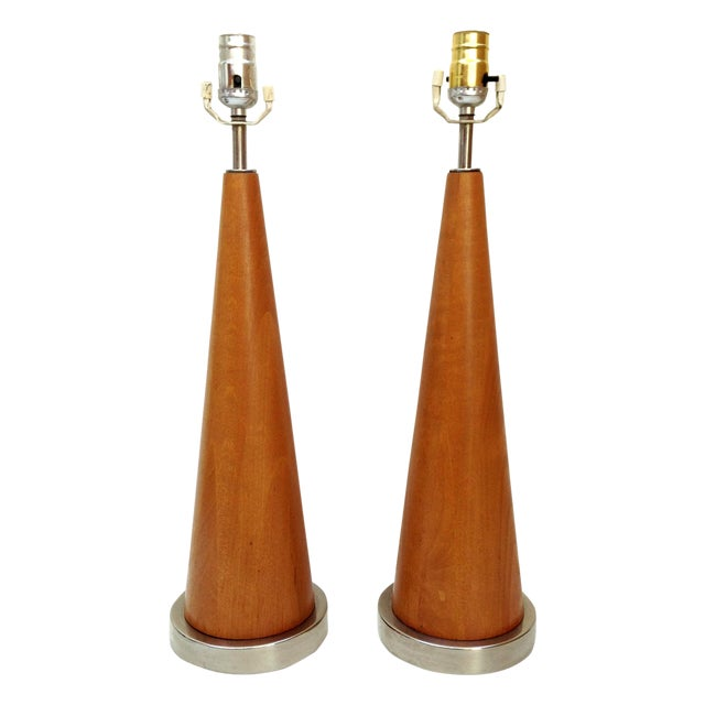 Mid-Century Modern Wood Cone Lamps- A Pair - Image 1 of 3