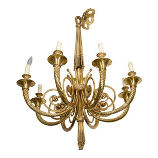 Neoclassical Style Eight-Light Bronze Chandelier For Sale