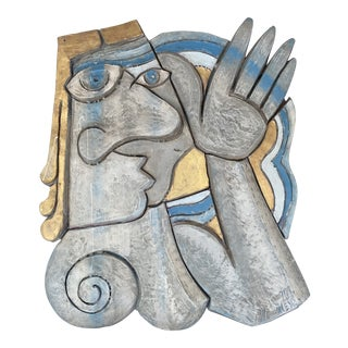 Picasso Style Ceramic Sculptural Wall Plaque For Sale