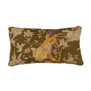 Vintage Floral Linen Pillow For Sale
