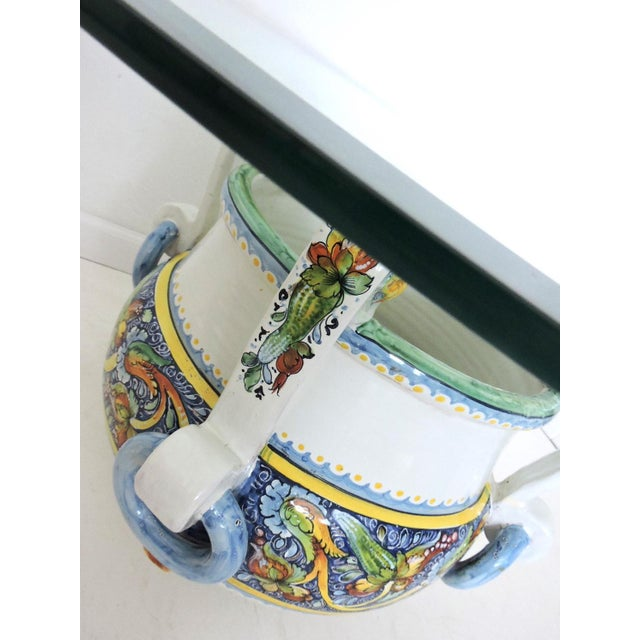 Magnificent Vintage Italian/Sicilian Ceramic Jardiniere, Planter or Coffee/Side Table For Sale In Tampa - Image 6 of 7
