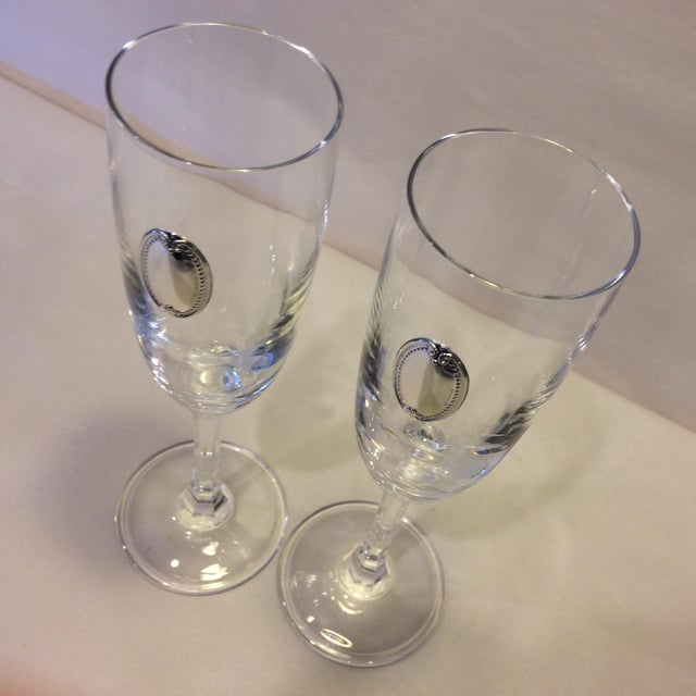 Valenti Vintage Crystal Flutes - A Pair For Sale - Image 10 of 11