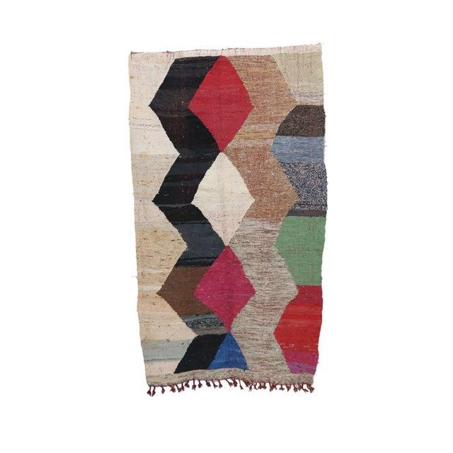 "Kilim Boucherouite Moroccan Kilim, 4'4"" X 7'3"" Feet For Sale - Image 6 of 6"