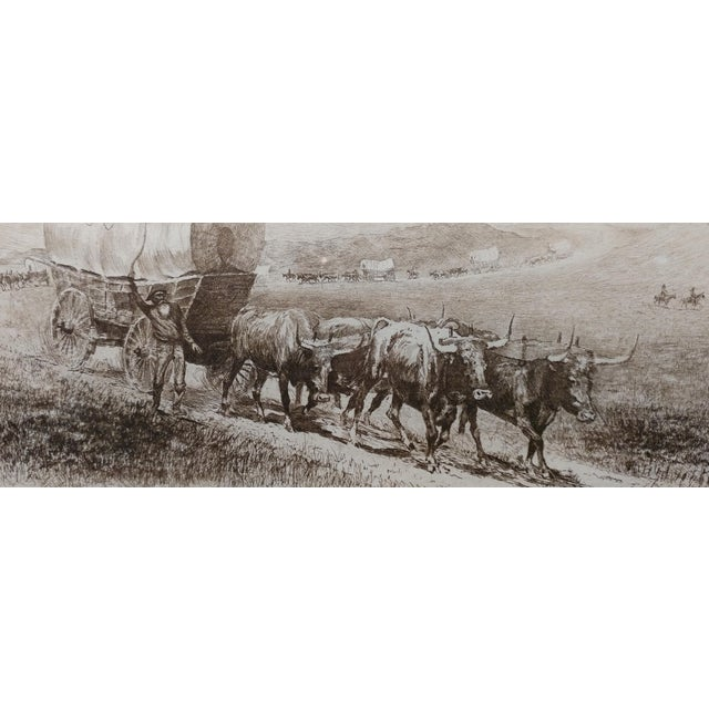 Illustration Edward Borein Emigrant Train Covered Wagon With Bulls Original Etching For Sale - Image 3 of 10