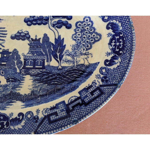 Vintage Blue Willow Pagoda Decorative Platter With Hanger For Sale In Charlotte - Image 6 of 10