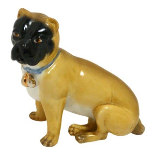 Antique German Dresden Pug Dog Figurine For Sale