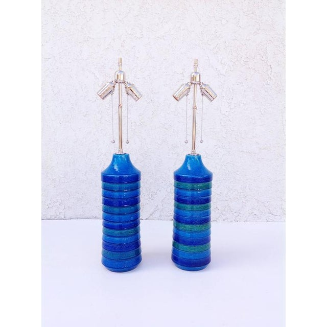 """Mid-Century Modern Italian Ceramic """"Rimini Blue"""" Table Lamps by Bitossi - a Pair For Sale - Image 3 of 6"""