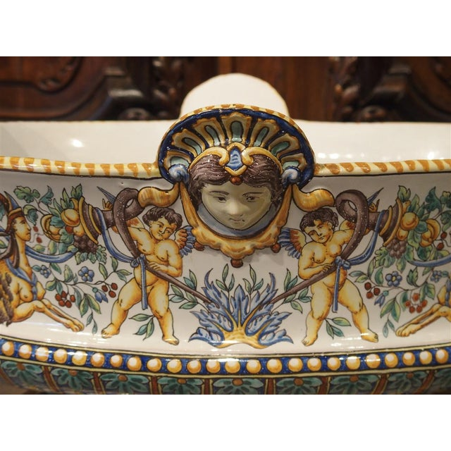 19th Century French Faience Jardiniere, Antoine Montagnon, Nevers For Sale - Image 11 of 13
