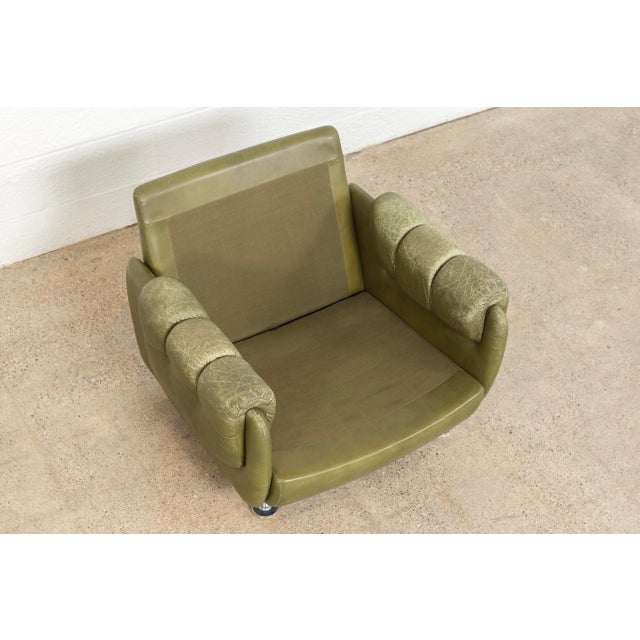 Green Vintage Mid Century Green Leather Lounge Chair in the Style of Percival Lafer, 1970s, Matching Sofa Available For Sale - Image 8 of 11