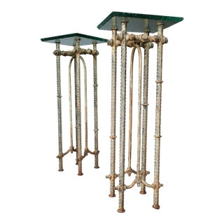 Ilana Goor Hand Wrought Metal and Glass Pedestal Tables For Sale