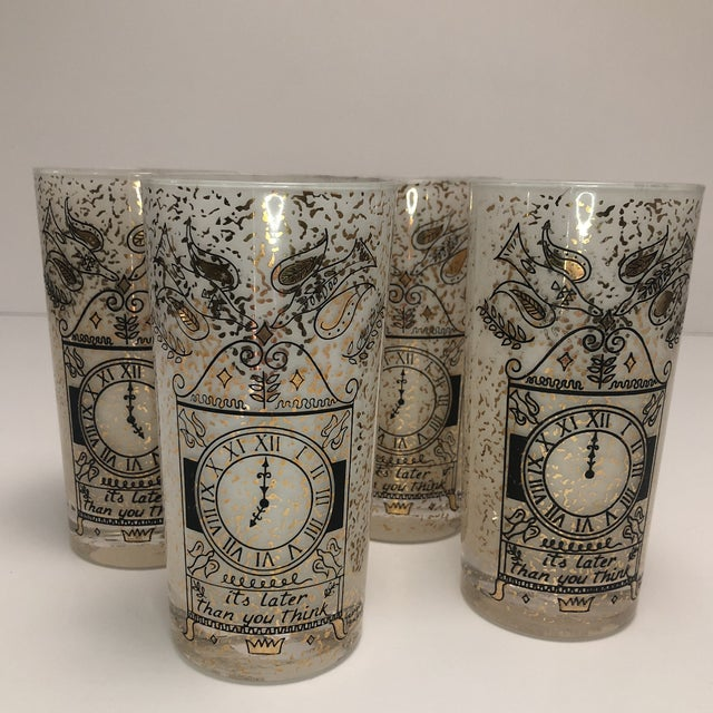 """Georges Briard Georges Briard """"It's Later Than You Think"""" 22k Glasses - Set of Four For Sale - Image 4 of 10"""