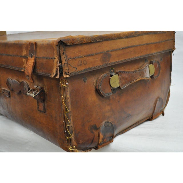 Animal Skin Antique 11.5 X 33 X 20 Large Brown English Leather Hard Luggage Suitcase Trunk For Sale - Image 7 of 10