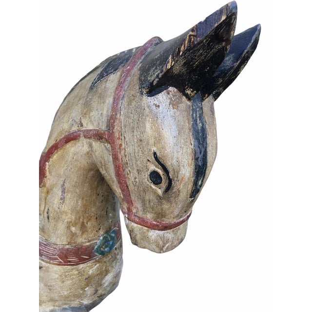 Antique Indian / Rajasthani Hand Carved Wooden Horse For Sale - Image 10 of 13