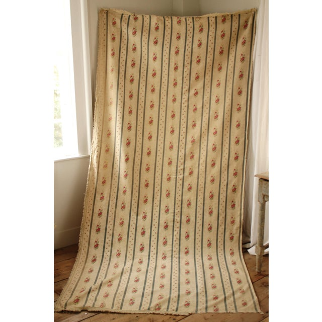 Textile Antique French Blue Striped Floral Curtain For Sale - Image 7 of 10