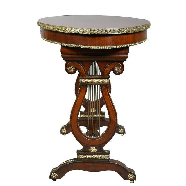 Gold Russian Neoclassic Mahogany and Brass Mounted Table For Sale - Image 8 of 10