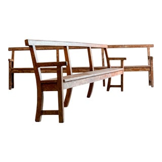 Antique French Oak Benches Long Painted Distressed 19th Century, circa 1890 - A Pair For Sale