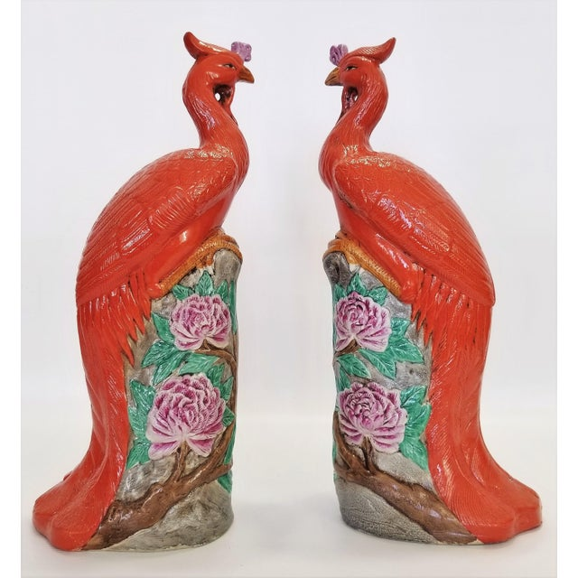 Rare Orange Large Famille Rose Phoenix Sculpture Figurines -Pair- Feng Shui - Chinese Chinoiserie Palm Beach Boho Chic Tropical Coastal Botanical For Sale - Image 4 of 13