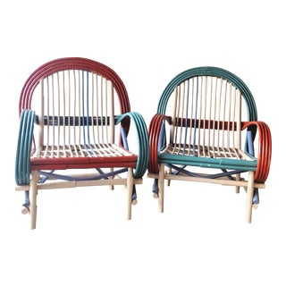 Vintage Colorblock Painted Bamboo Lounge/Outdoor Chairs in the Style of Franco Albini For Sale
