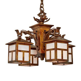 Four-lantern Arts & Crafts Chandelier W/ Original Finish Circa 1915