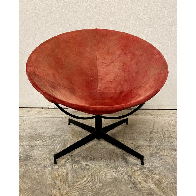 Amazing mid century modern barrel chair Designed by William Katavalos for Leathercrafters New York Well worn red suede on...