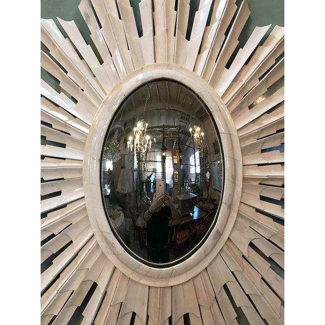Italian Bone Sunburst Mirror with Convex Glass - Image 5 of 6
