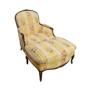 Brunschwig & Fils French Louis XV Style Bergere Chair W/ Ottoman For Sale