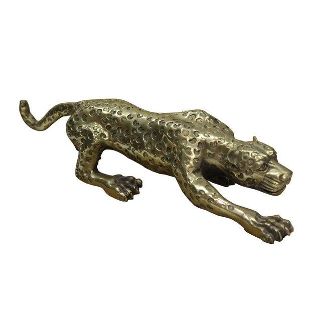 Hollywood Regency Handmade Golden Metal Jaguar Leopard Figure For Sale - Image 3 of 5