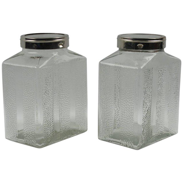 Art Deco Glass and Chrome Kitchen Canister Jar - a Pair - Image 1 of 9