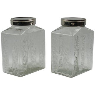 Art Deco Glass & Chrome Kitchen Canister Jars - Set of 2