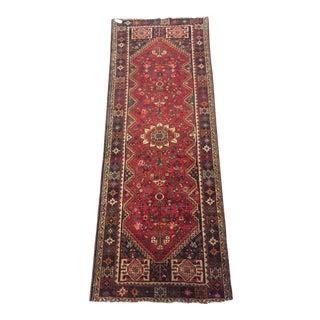 Vintage Mid-Century Persian Qashqai Runner Rug - 3′8″ × 9′7″ For Sale