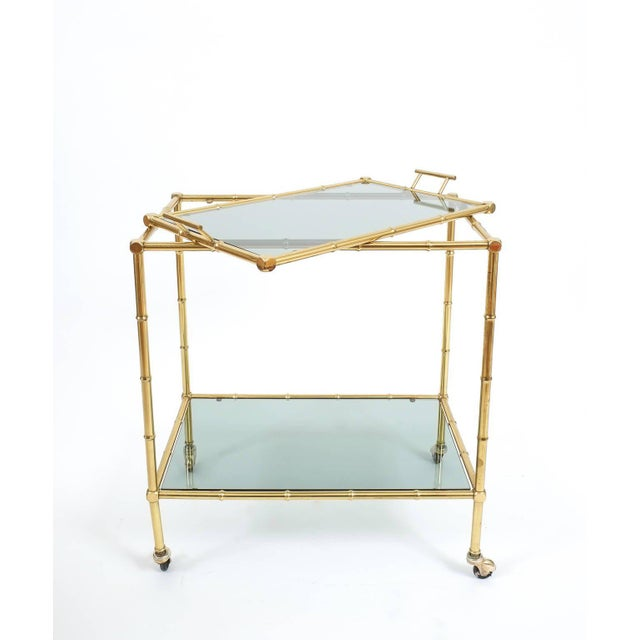 Faux Bamboo Brass Bar Cart with Removable Glass Tray For Sale - Image 4 of 7