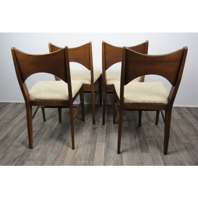 Cotton Mid-Century Modern Walnut Bowtie Dining Chairs by Lenoir - Set of 4 For Sale - Image 7 of 13