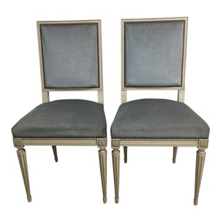 French Jansen Style Velvet Chairs - a Pair