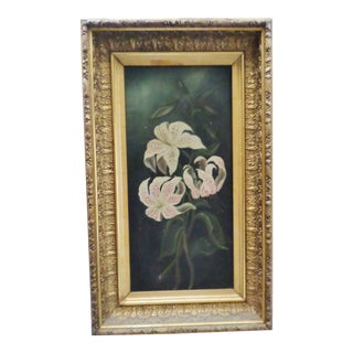 Antique Chinese Lily Oil Painting on Canvas With Gold Leaf Bellflower Design Frame For Sale