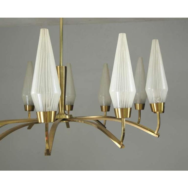 Large Twelve-Arm Brass with Opaline Glass Chandelier, Italy, 1950s - Image 5 of 7