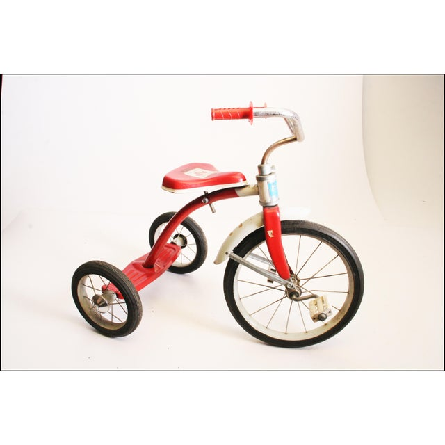 Americana Vintage Red Metal Child's Tricycle For Sale - Image 3 of 11