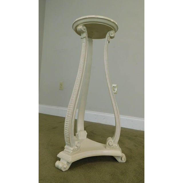 Hollywood Regency Vintage Pair White Washed Lacquer Italian Pedestals For Sale - Image 10 of 12