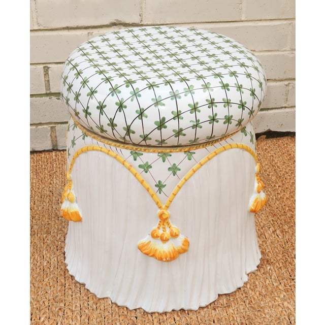 Hollywood Regency Vintage Italian Ceramic Garden Stool With Tassels For Sale - Image 3 of 13