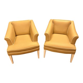 Custom-Made Slanted Armed Vinyl Tuxedo Styled Chairs, a Pair For Sale