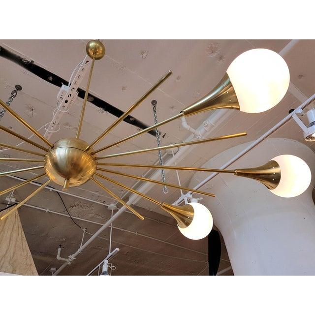 1960s Mid-Century Modern Italian Stilnovo Style Brass & White Glass Sputnik Chandelier 1960s For Sale - Image 5 of 12