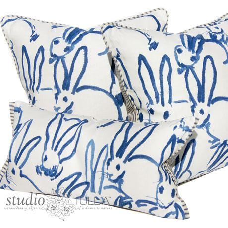 2010s Bunny Fabric Hutch Navy Print Pillow For Sale - Image 5 of 6