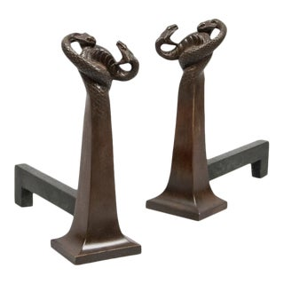 Pair of French Cast Bronze Andirons For Sale
