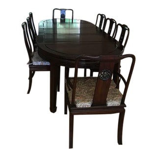 1980s Vintage Rosewood Dining Table & 8 Chairs For Sale