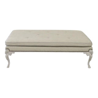 Jonathan Charles Tufted Ram's Head Footed Stool For Sale