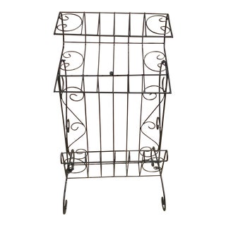 Vintage Black Wire Telephone Stand With Magazine Rack For Sale