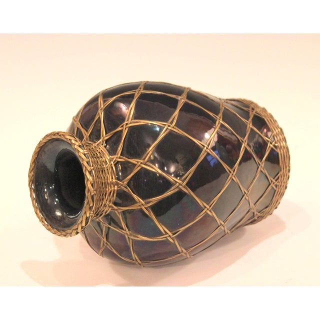 Arts & Crafts Antique Awaji Pottery Aubergine Monochrome Meiping Form Bronze Weave Signed For Sale - Image 3 of 10