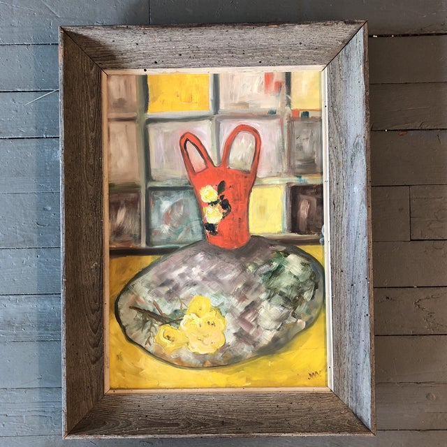 Wood Original Mid Century Modernist Still Life Wormwood Frame For Sale - Image 7 of 7