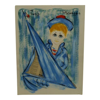 """Blue Boy"" Mixed Media French Painting on Paper"